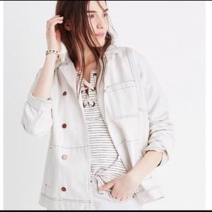 Madewell white jean jacket (S)